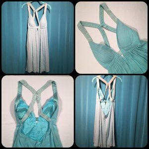 Blue Silk Beaded Niteline Babydoll Cocktail Dress